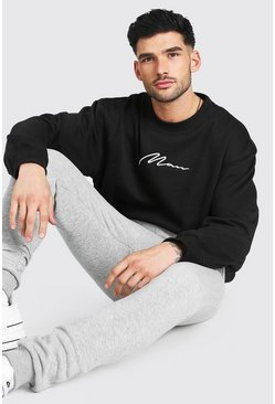 Black Oversized MAN Signature Sweatshirt