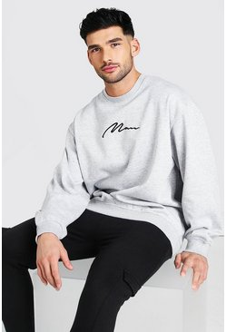 Grey marl Oversized MAN Signature Sweatshirt