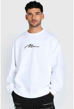 White Oversized MAN Signature Sweatshirt