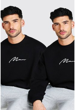 Black 2 Pack Oversized MAN Signature Sweatshirt