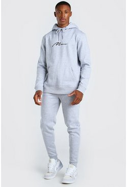 Grey marl MAN Signature Regular Hooded Tracksuit