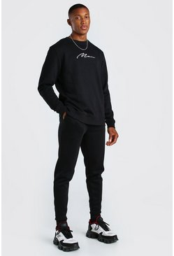 Black MAN Signature Sweater Tracksuit