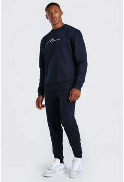 Navy MAN Signature Sweater Tracksuit