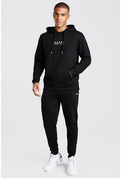 Black Original MAN Regular Hooded Tracksuit