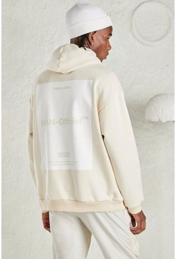 Beige MAN Oversized Hoodie with Back Print
