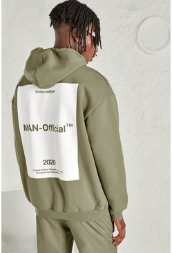 Sage silver MAN Oversized Hoodie with Back Print