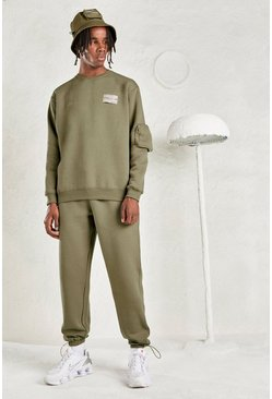 Sage silver MAN Tracksuit with Sleeve Pocket