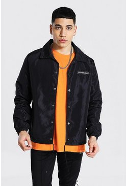 Black MAN Official Branded Nylon Coach Jacket
