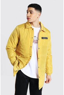 Veste coach longline en nylon MAN Official, Moutarde