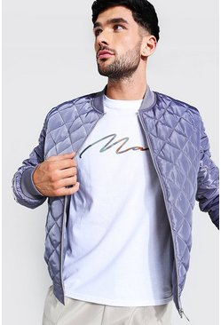 Grey Quilted Bomber