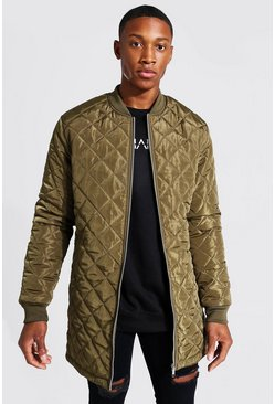 Khaki Longline Quilted Bomber