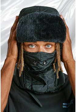 Black Quilted Snood Hat With Vents
