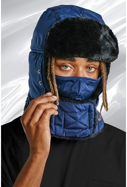 Blue Quilted Snood Hat With Vents