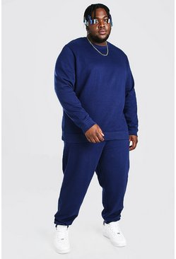 Navy Plus Size Basic Sweater Tracksuit