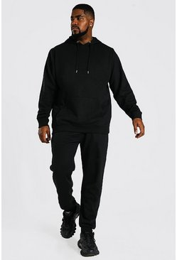 Black Plus Size Basic Hooded Tracksuit