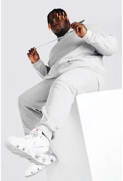 Grey marl Plus Size Basic Hooded Tracksuit