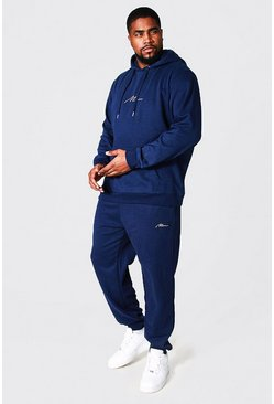 Navy Plus Size MAN Script Hooded Tracksuit