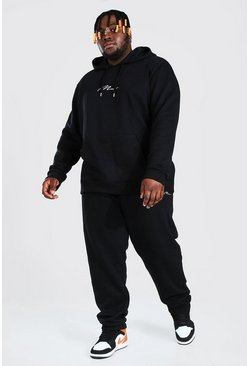 Black Plus Size MAN Script Hooded Tracksuit
