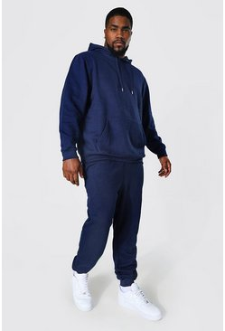 Navy Plus Size Basic Hooded Tracksuit