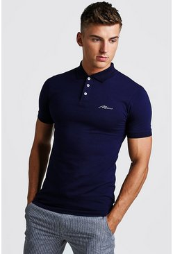 Mens Navy MAN Signature Longline Muscle Fit Polo