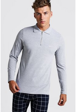 Grey MAN Signature Long Sleeve Pique Zip Placket Polo