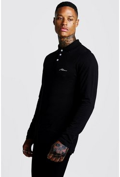 Black MAN Signature Long Sleeve Pique Polo