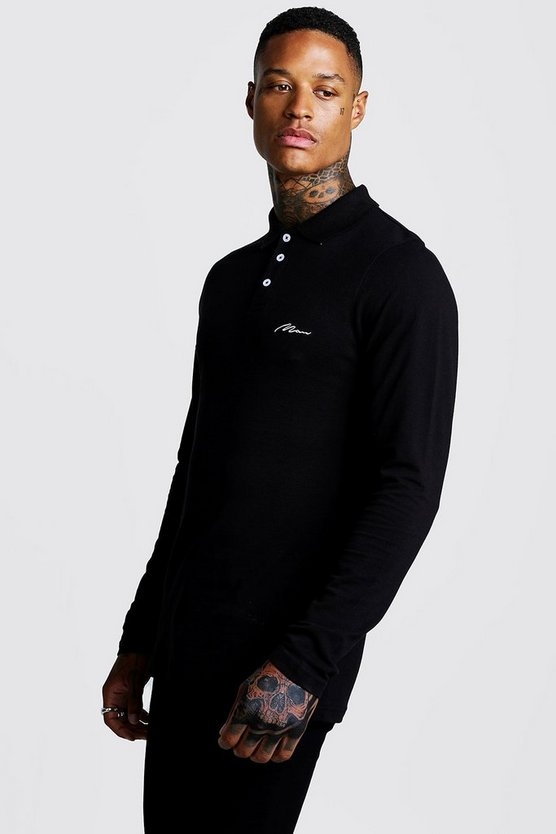 Mens Black MAN Signature Long Sleeve Pique Polo