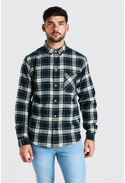 Navy Long Sleeve Brushed Check Shirt