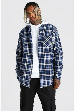 Blue Long Sleeve Long Line Check Shirt