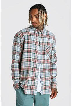 Beige Long Sleeve Oversized Check Shirt