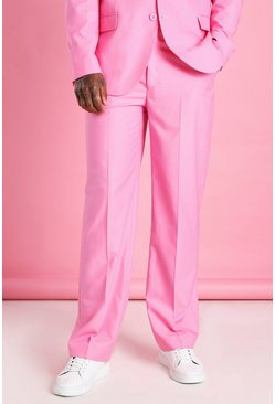 Pink Relaxed Plain Suit Pants