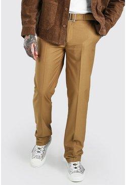 Chestnut Relaxed Plain Belt Detail Smart Trousers