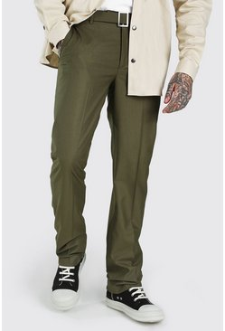 Khaki Relaxed Plain Belt Detail Smart Pants