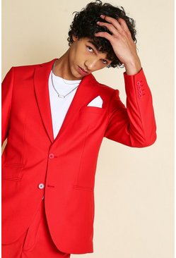 Red Skinny Plain Suit Jacket