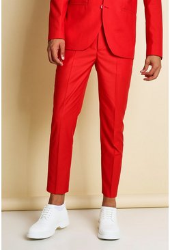 Red Skinny Plain Cropped Suit Trousers