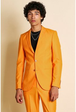 Orange Super Skinny Plain Suit Jacket