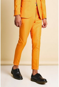 Orange Super Skinny Plain Cropped Suit Trousers