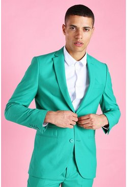 Green Skinny Plain Suit Jacket