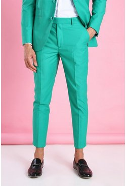 Green Skinny Plain Cropped Suit Trousers