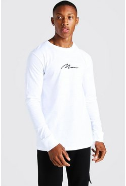 MAN Signature Long Sleeve T-Shirt, White