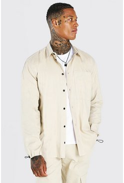 Stone Oversized Twill Shirt With Toggle Cuff