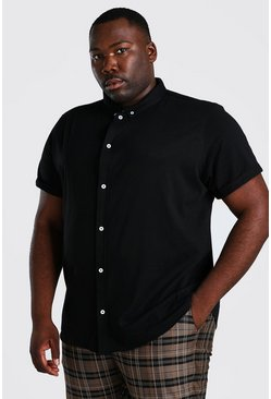 Black Plus Size Short Sleeve Jersey Shirt