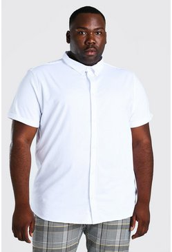 White Plus Size Short Sleeve Jersey Shirt