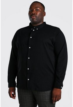 Black Plus Size Long Sleeve Jersey Shirt