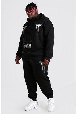 Black Plus Size MAN Graffiti Hooded Tracksuit