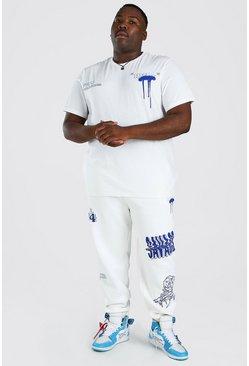 Ecru Plus Size Official MAN Graffiti T-Shirt Set