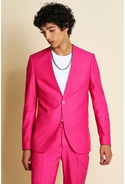 Pink Skinny Plain Collarless Suit Jacket