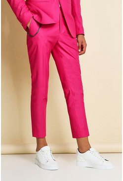 Pink Skinny Plain Cropped Suit Pants With Chain