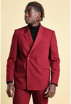 Wine Boxy Plain 2 Button Double Breasted Suit Jacket