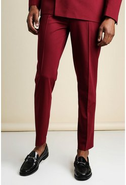 Wine Slim Plain Suit Trousers With Chain